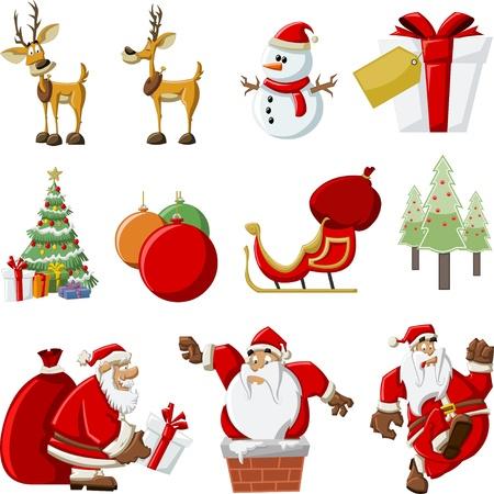 renos de navidad: Papá Noel con una bolsa de regalo rojo grande, árbol de navidad, el trineo con los renos y con muñeco de nieve