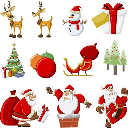 cartoon christmas tree: Santa Claus with a big red gift bag ,christmas tree, on sleigh with reindeer and with snowman Illustration