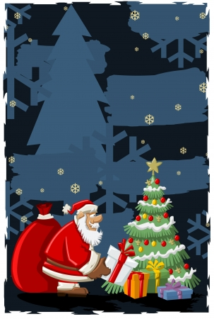 natal: Santa Claus with a big red gift bag and christmas tree