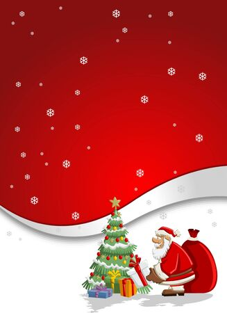 Santa Claus with a big red gift bag and christmas tree Vector