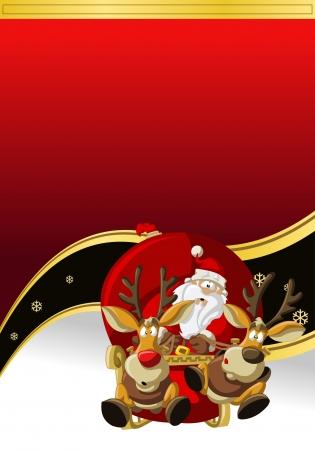 papa noel trineo: Santa-Claus en trineo con renos