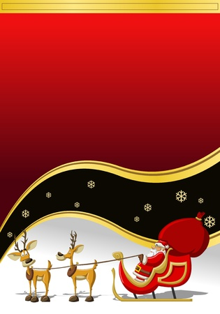 Santa-Claus on sleigh with reindeer Stock Vector - 16572420