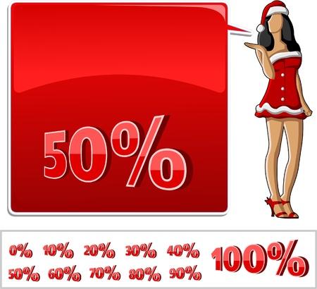 hair pins: A beautiful cartoon pin up girl dressed like Santa Claus