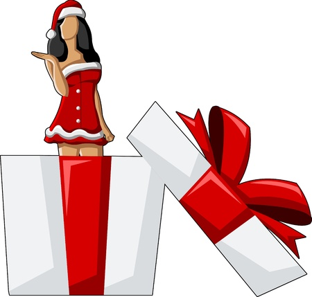girlie: A beautiful cartoon pin up girl dressed like Santa Claus