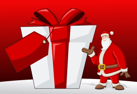 Santa Claus with big present box Vector
