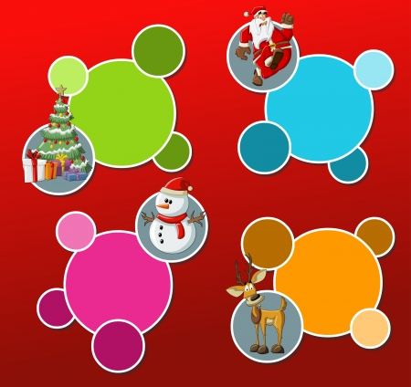Labels with Santa Claus, reindeer, snowman, and christmas tree Vector