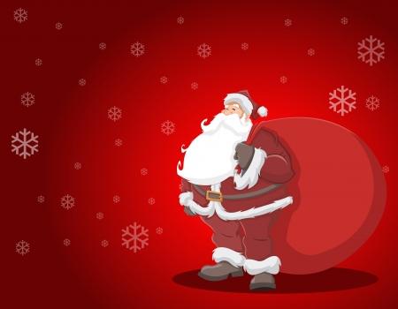 bolsa de regalo: Pap� Noel con una bolsa grande regalo rojo