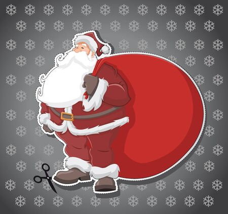Label with Santa Claus with big red bag Vector
