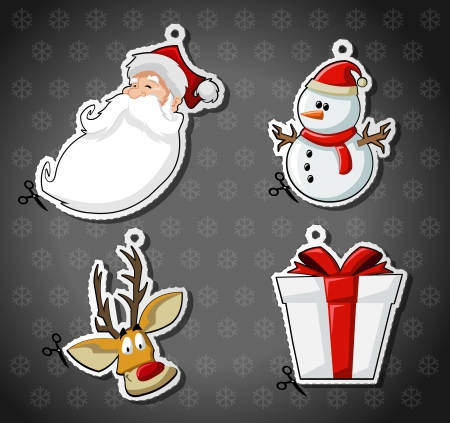 natal: Labels of Santa Claus, reindeer, snowman, and christmas gift Illustration