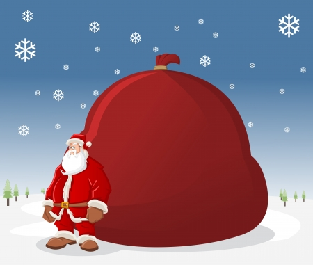 natal: Santa Claus with a big red gift bag  Illustration