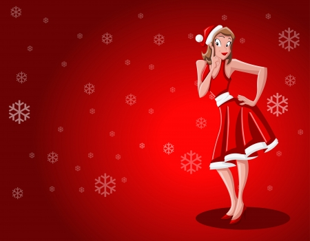 A beautiful cartoon pin up girl dressed like Santa Claus Vector