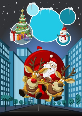 christmas sleigh: Template with Santa Claus on sleigh with reindeer flying over city on christmas night  Illustration