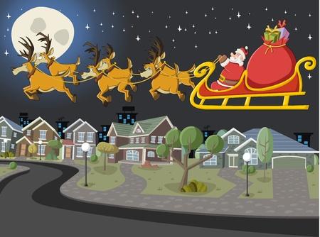 papa noel en trineo: Pap� Noel en el trineo con renos volando sobre suburbio vecindad en la noche de Navidad