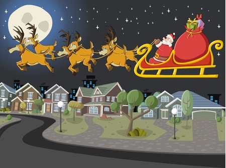 suburb: Santa Claus on sleigh with reindeer flying over suburb neighborhood on christmas night