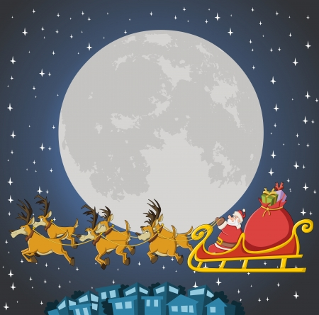 Santa Claus on sleigh with reindeer flying on christmas night with big moon  Vector