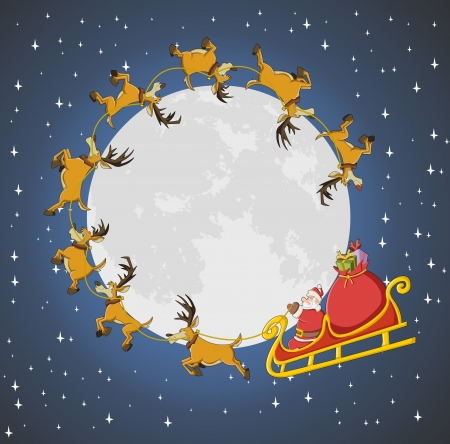 Santa Claus on sleigh with reindeer flying around big moon on christmas night  Vector