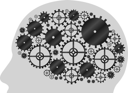 Head shape with machine gear wheel  Cogwheel   Vector