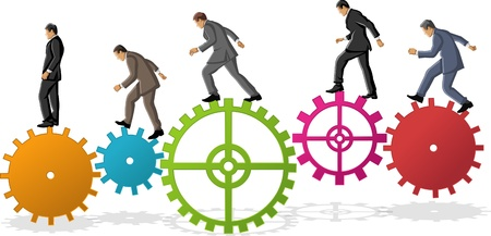 cogwheel: Business man over colorful machine gear wheel  Cogwheel  Illustration
