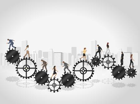 Business people over machine gear wheel  Cogwheel