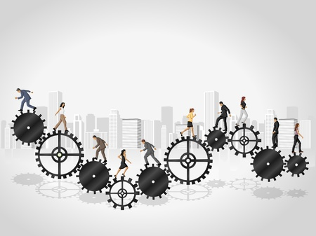 collaboration: Business people over machine gear wheel  Cogwheel