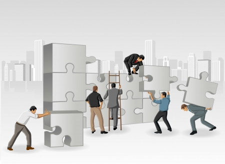 assembling: Business men assembling the pieces of a puzzle Illustration