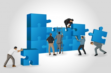 Business men assembling the pieces of a puzzle Vector