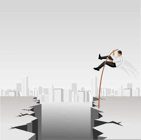 Business men springt über Abgrund mit hohen Mast Vektorgrafik