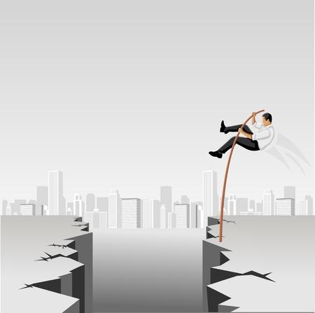 osare: Gli uomini d'affari che saltano sopra abisso con palo alto