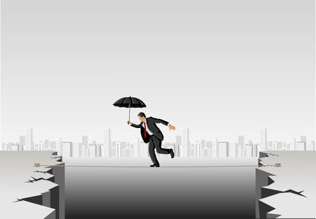 tightrope: Zakenman kruising afgrond op een hoge koord paraplu