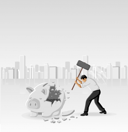 Business man breaking piggy bank with coins Stock Vector - 16829035
