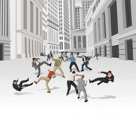 pas d accord: Combat de rue, des conflits entre les gens d'affaires sur la rue du quartier financier de New York Crise financi�re Illustration