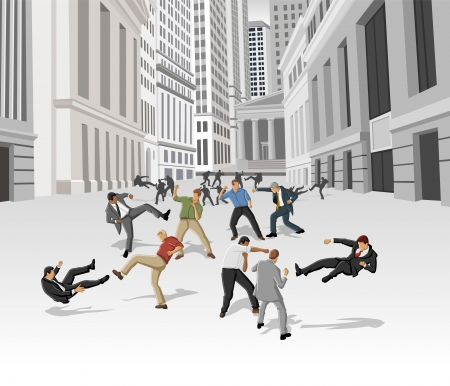 financial district: Street fight, conflict between business people on the street of downtown financial district in New York  Financial crisis   Illustration
