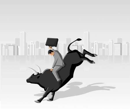 business jump: Cowboy business man riding a rodeo black bull
