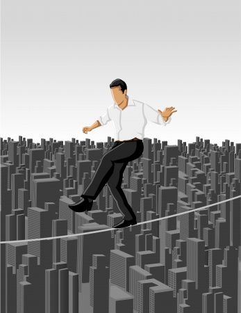 venture: Business man over city on a high tightrope