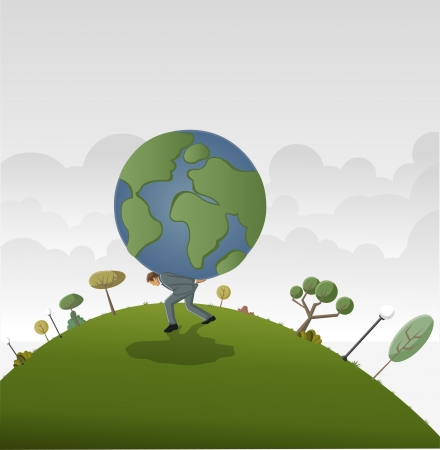 financial obstacle: Business man carrying earth planet globe Illustration