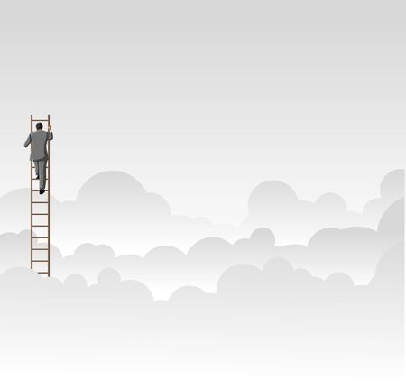 overcoming: Business man climbing high ladder above the clouds
