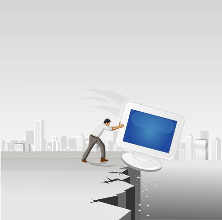 Businessman throwing away a computer screen on abyss Stock Vector - 16829007