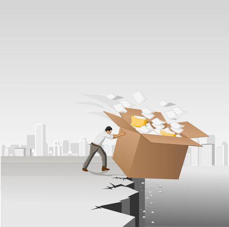 Uomo d'affari che buttare via una scatola con documenti e file