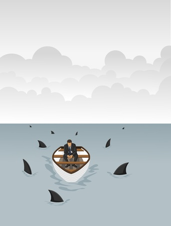 Business man on a boat surrounded by sharks  Vector