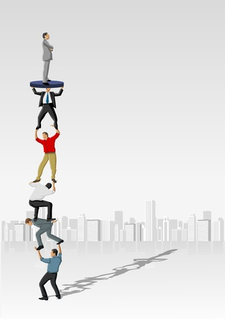 team management: Business people carrying each other  Hierarchy tree   Illustration
