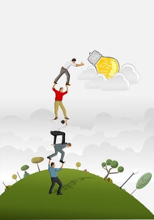 team effort: Business people carrying each other to reach a idea light bulb  Illustration