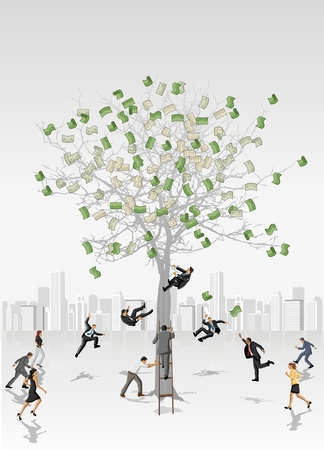 collect: Money tree with business people trying to collect bills Illustration