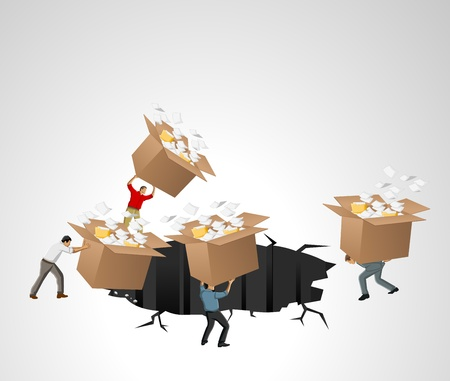 Businessmen throwing away boxes with papers and files Stock Vector - 16829021