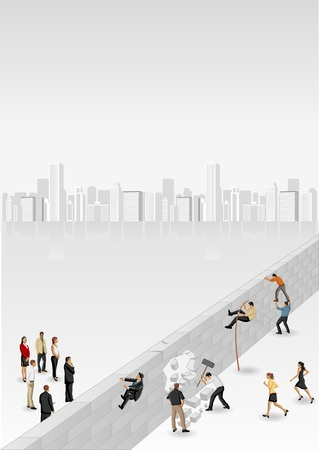 Template with two groups of business people separated by brick wall Stock Vector - 16829022