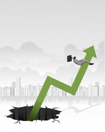 Cowboy business man riding a arrow out of a hole  Financial crisis Stock Vector - 16829018