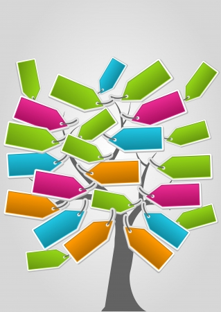 Tree with Colorful paper labels  Vector