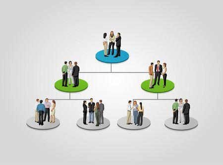 jerarquia: Plantilla para el folleto publicitario con la gente de negocios en el árbol de jerarquía