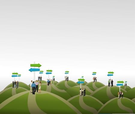 incertezza: Gruppo di uomini d'affari scegliere la strada giusta opzioni multiple