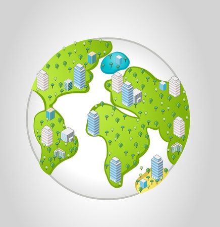Template for advertising brochure with isometric city over earth planet Stock Vector - 16828943