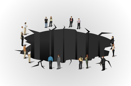 holes: Group of business people around hole  Cracked floor  Illustration